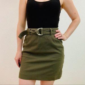 Ann Taylor Green High Waisted Mini Skirt Size 0P